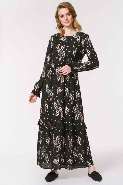 MIZALLE - Çiçek Desenli Uzun Elbise (Siyah) (1)