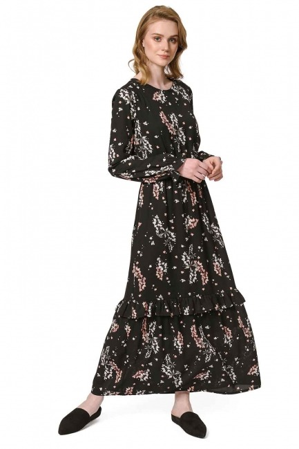 Floral Patterned Long Dress (Black) - Thumbnail