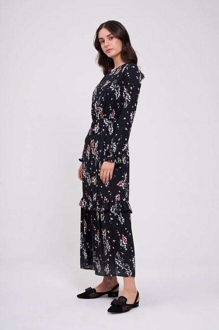 Mizalle - Çiçek Desenli Uzun Elbise (Siyah)