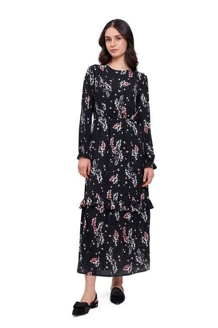 MIZALLE Çiçek Desenli Uzun Elbise (Siyah)