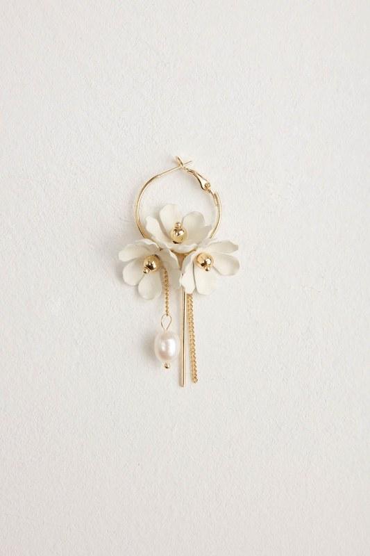 Flower Detailed Hoop Earrings (White)