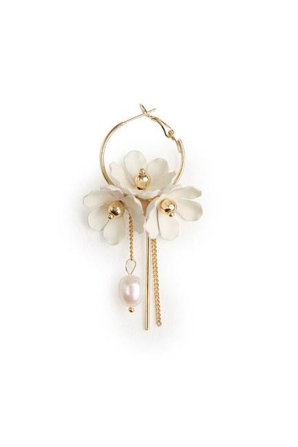 MIZALLE Çiçek Detaylı Halka Küpe (Beyaz)