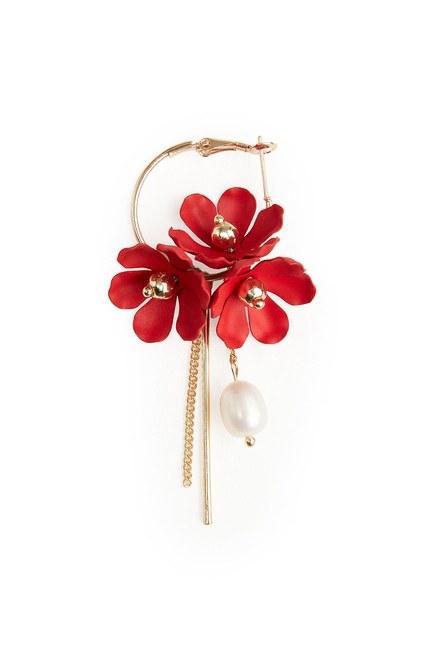 Çiçek Detaylı Halka Küpe (Kırmızı) - Thumbnail