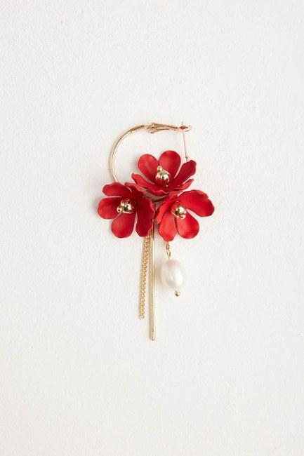 MIZALLE - زهرة هوب أقراط مفصلة (أحمر) (1)