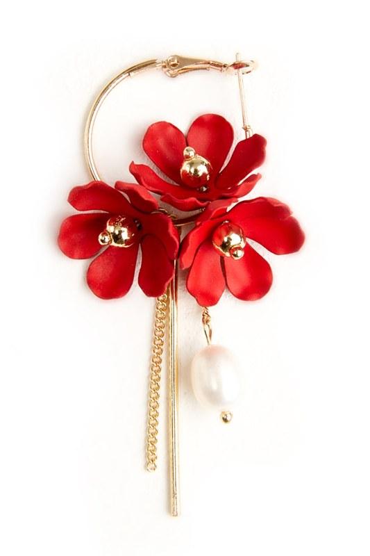 Flower Detailed Hoop Earrings (Red)