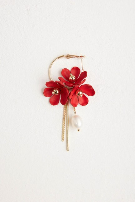 MIZALLE - Çiçek Detaylı Halka Küpe (Kırmızı) (1)