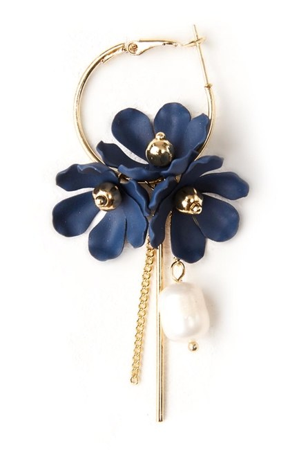 Flower Detailed Hoop Earrings (Navy Blue) - Thumbnail
