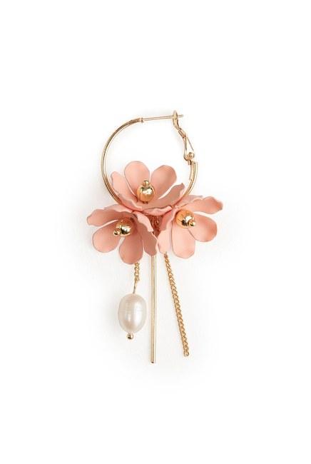Flower Detailed Hoop Earrings (Pink) - Thumbnail
