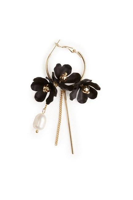 Çiçek Detaylı Halka Küpe (Siyah) - Thumbnail