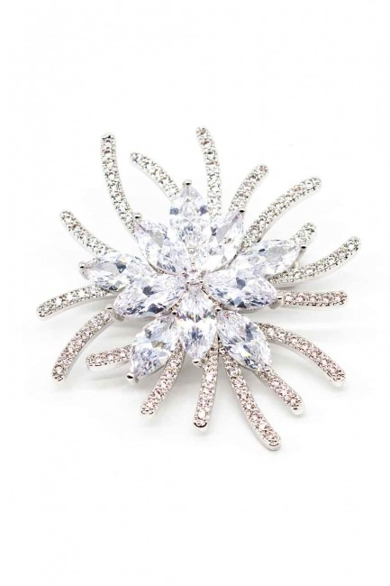 Flower Shaped Zircon Brooch - Thumbnail
