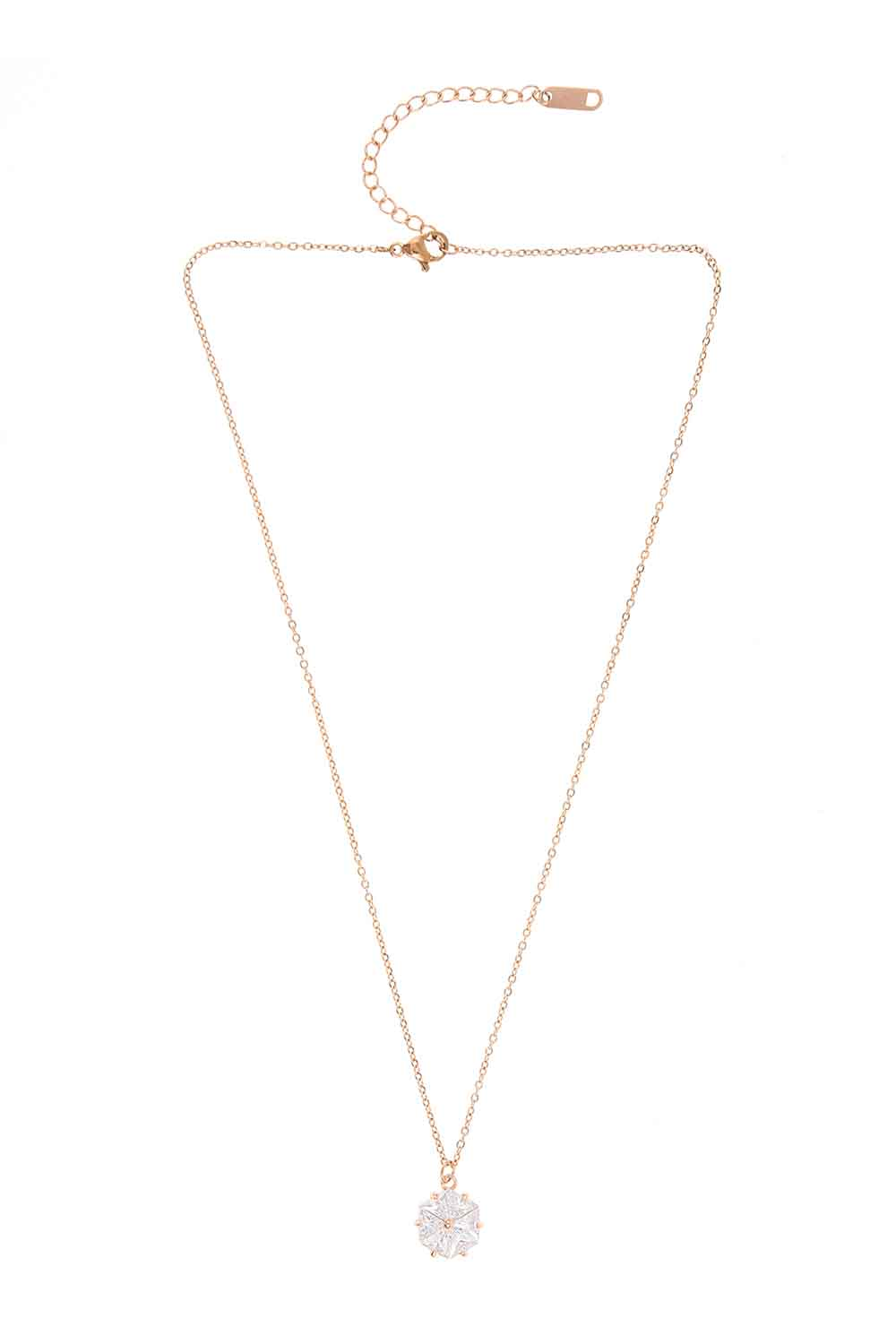 MIZALLE Flower Steel Necklace (St) (1)