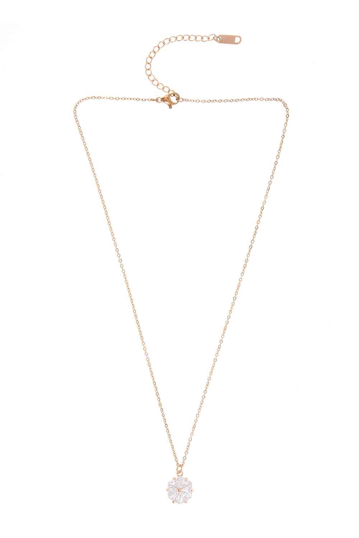 MIZALLE Flower Steel Necklace (St) (1)