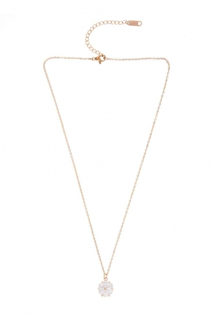 MIZALLE - Flower Steel Necklace (St) (1)