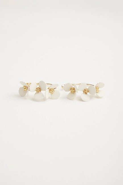 MIZALLE - Flower Ring Shaped Earrings (White) (1)