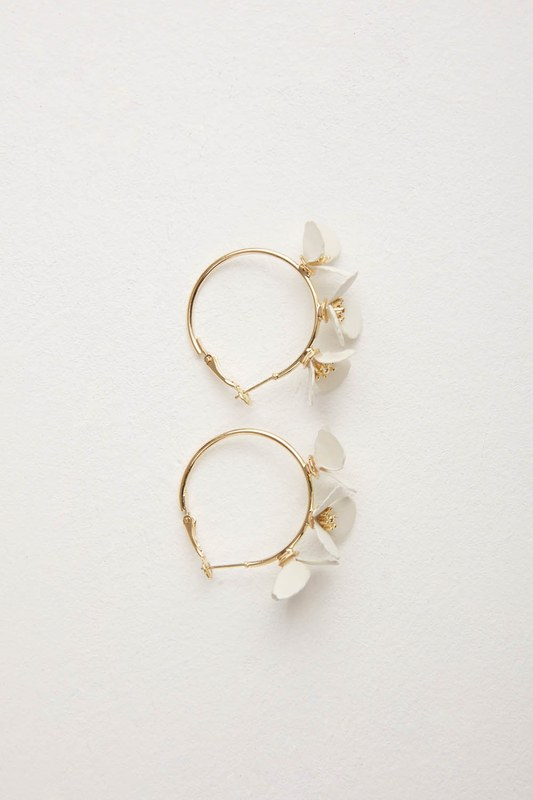 Çiçekli Halka Küpe (Beyaz)