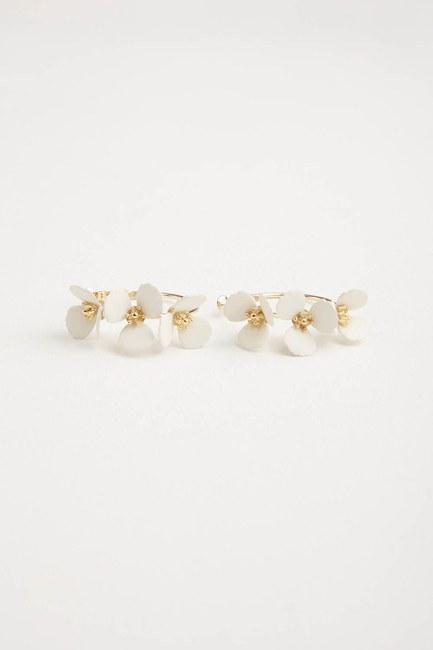 MIZALLE - Çiçekli Halka Küpe (Beyaz) (1)