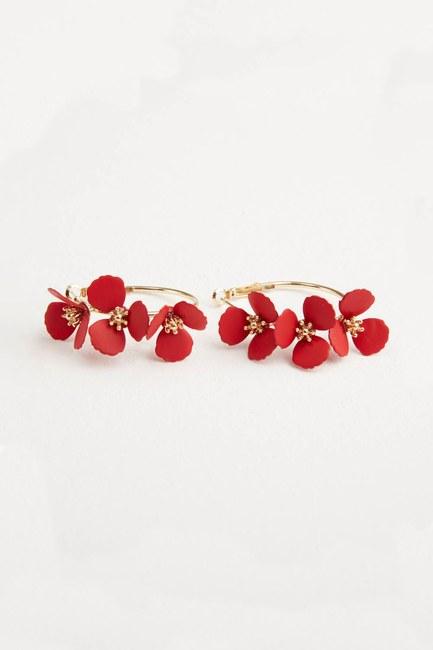 Çiçekli Halka Küpe (Kırmızı) - Thumbnail