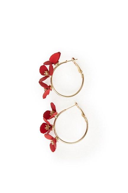 MIZALLE - Çiçekli Halka Küpe (Kırmızı) (1)