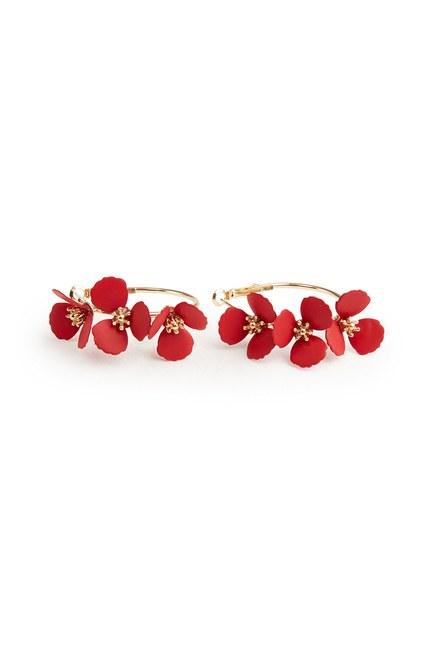 MIZALLE Çiçekli Halka Küpe (Kırmızı)