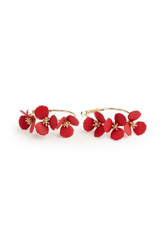 Çiçekli Halka Küpe (Kırmızı)