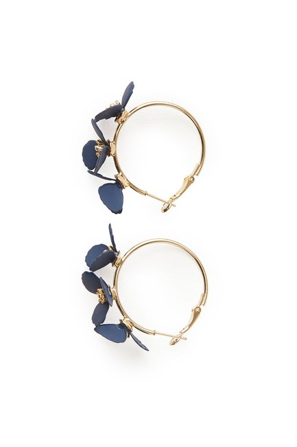 Flower Ring Shaped Earrings (Navy Blue) - Thumbnail