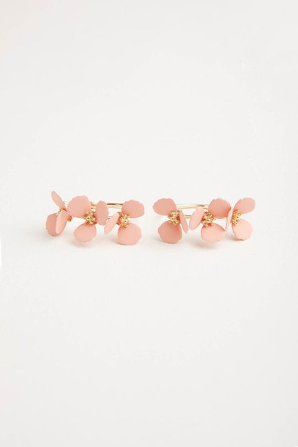 MIZALLE - Flower Ring Shaped Earrings (Pink) (1)