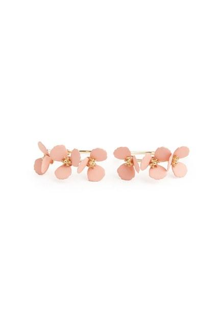 MIZALLE - Flower Ring Shaped Earrings (Pink) (1)