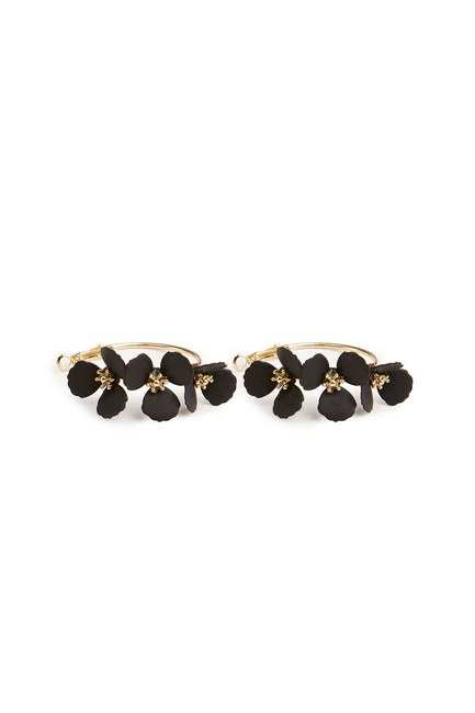 MIZALLE - Flower Ring Shaped Earrings (Black) (1)