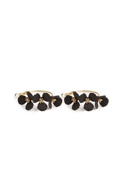 MIZALLE - Çiçekli Halka Küpe (Siyah) (1)