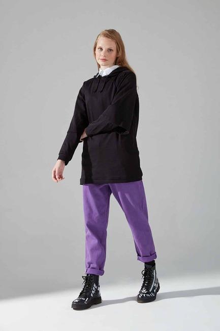 Mizalle - Çift Kollu Sweatshirt (Siyah)