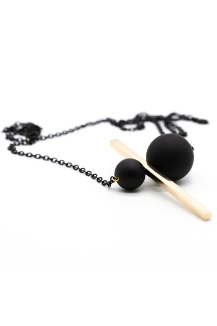 Coupled Metal Beaded Necklace (Gold) - Thumbnail