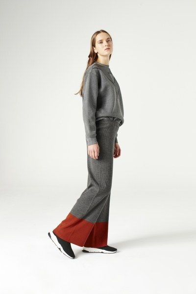 MIZALLE - Bicolored Tricot Trousers (Grey) (1)