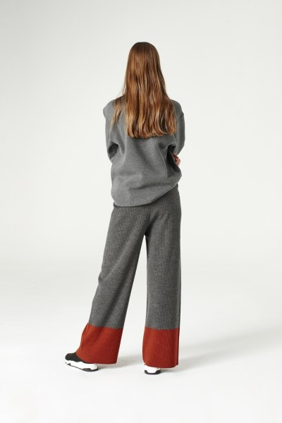 Bicolored Tricot Trousers (Grey) - Thumbnail