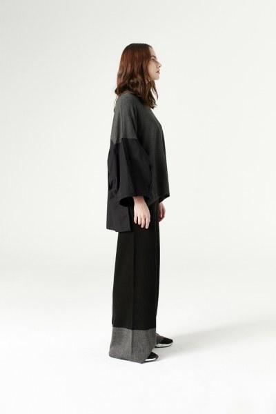 Çift Renk Triko Pantolon (Siyah) - Thumbnail