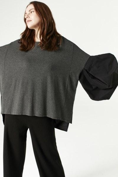 MIZALLE - بنطلون تريكو مزدوج اللون (أسود) (1)