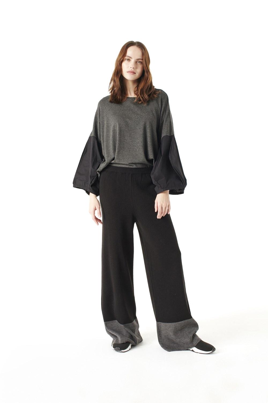03eeb4940 Çift Renkli Triko Pantolon Siyah I Mizalle