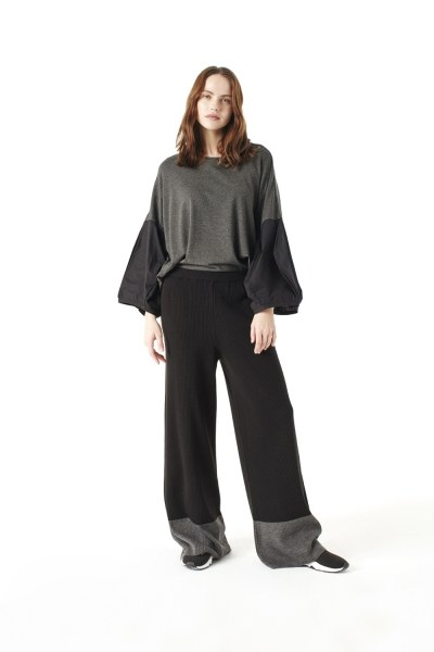 Bicolored Tricot Trousers (Black) - Thumbnail