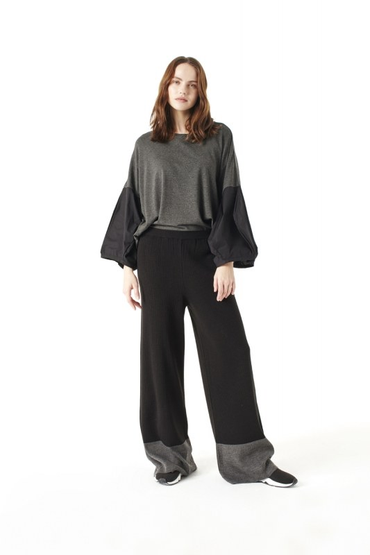 Bicolored Tricot Trousers (Black)