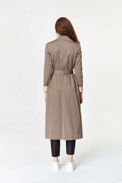 معطف الخندق اللون المزدوج الجبردين (غَامِق) - Thumbnail