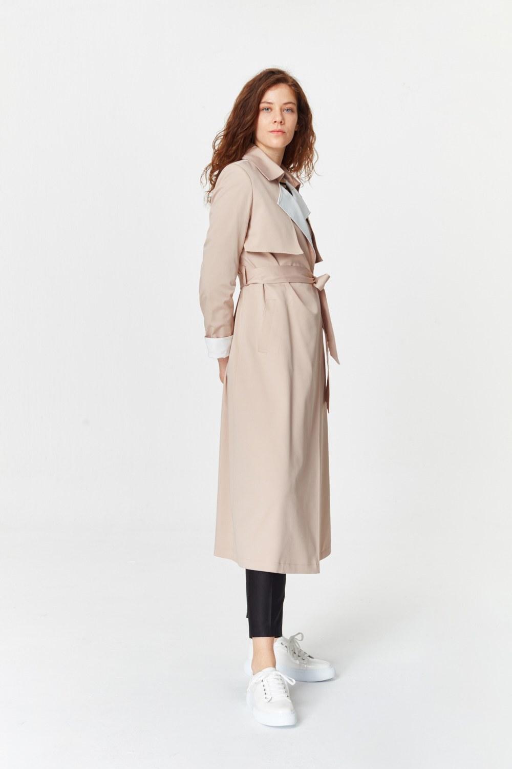 MIZALLE معطف الخندق اللون المزدوج الجبردين (بِيج) (1)