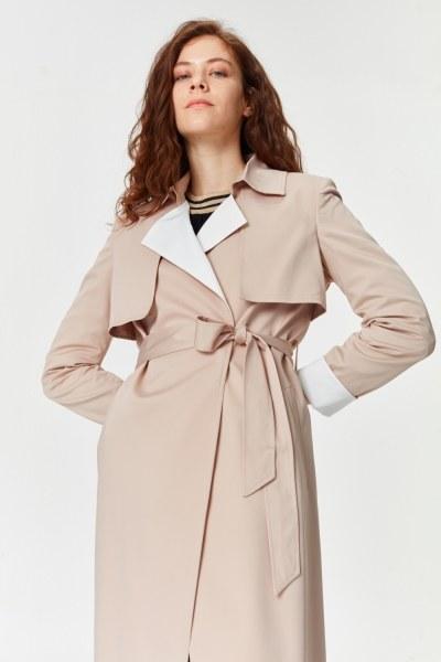 معطف الخندق اللون المزدوج الجبردين (بِيج) - Thumbnail