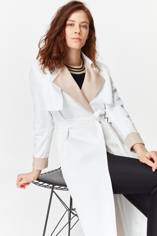 MIZALLE معطف الخندق اللون المزدوج الجبردين (أَبْيَضُ) (1)
