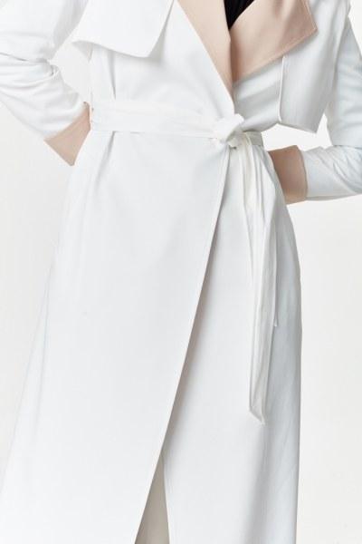 Çift Renkli Gabardin Trençkot (Beyaz) - Thumbnail