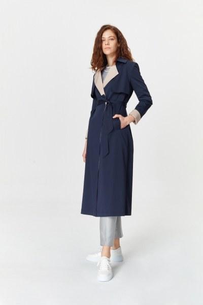 MIZALLE - معطف الخندق اللون المزدوج الجبردين (كُحْلِيّ) (1)
