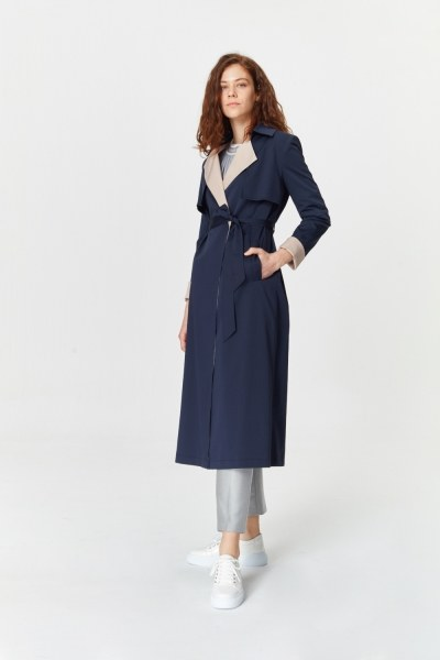 MIZALLE - Double Colored Gabardine Trenchcoat (Navy Blue) (1)