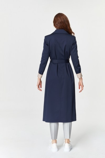 Double Colored Gabardine Trenchcoat (Navy Blue) - Thumbnail