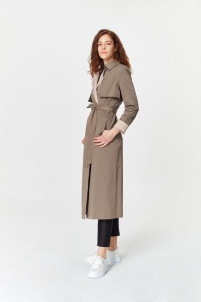 معطف الخندق اللون المزدوج الجبردين (لون المنك) - Thumbnail
