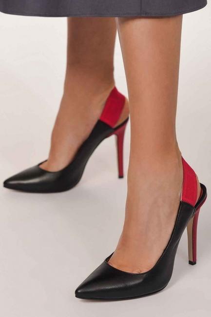 MIZALLE - أحذية بكعب مزدوج الألوان (أسود) (1)