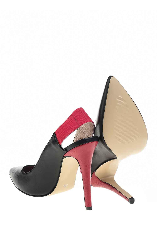 MIZALLE Çift Renkli Topuklu Ayakkabı (Siyah) (1)