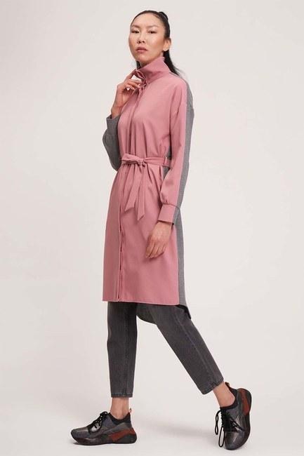 Çift Renkli Tunik Elbise (Gri/Pembe) - Thumbnail